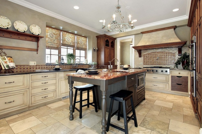 Charmant Gray Island · Tan Kitchen